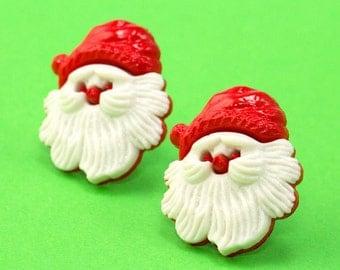 Santa Stud Earrings - Christmas Ear Posts