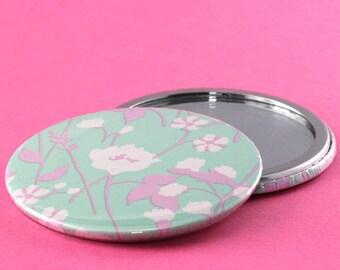 Pocket Mirror Pastel Flowers - Pink & Mint Green