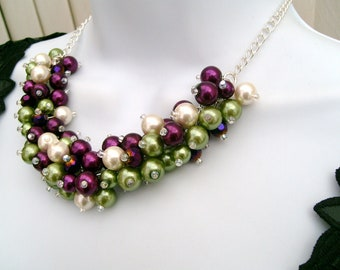 Cluster Necklace, Winter Wedding, Pearl Necklace, Pearl Beaded Necklace, Bridal Jewelry, Chunky Pearl Necklace, Magenta, Green, Ivory
