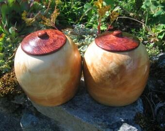 Boob Jar set, life size stash jars of Mulberry burl, and Bubinga wood, REDUCED PRICE, 150.00