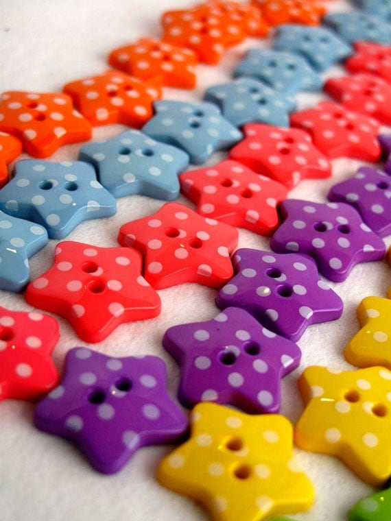 Buttons Super Stars x60 10 each of 6 colours solid quality UK ship worldwide