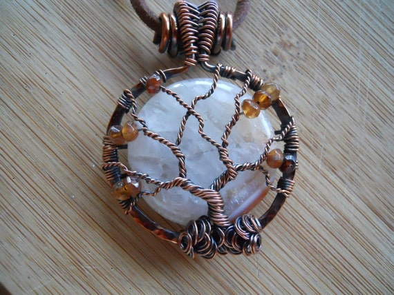 Tree of Life Pendant Druzy Quartz Hessonite Garnet Wire Wrapped in Hammered Oxidized Copper