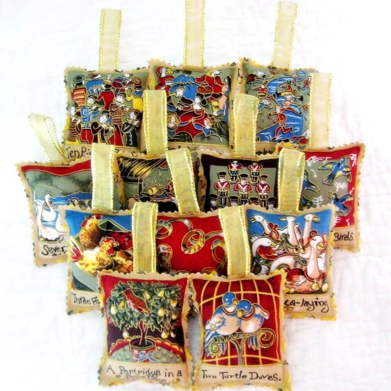 12 Days of Christmas Ornament Set - Fabric with Gold Ribbon Hangers