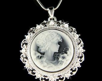 Swarovski Crystal Black Greek Goddess Roman Style CAMEO Pendant Necklace New Christimas Gift