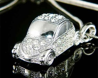 3D VW Beetle VOLKSWAGEN Classic CAR Swarovski Crystal Charm Pendant Necklace New Christmas Gift