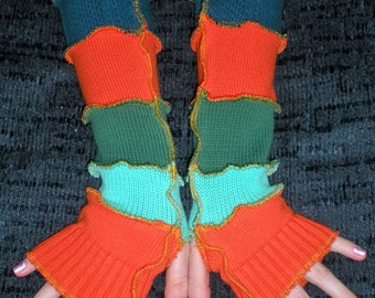 Fancy Colors arm warmers, fingerless gloves, upcycled, recycled, wool free