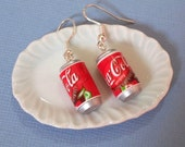 Coca Cola can drink - Dangle Earrings, coca cola earrings, cola earrings, miniature cola, cola jewelry