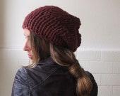 Burgundy red beanie, slouchy hat, chunky hat, chunky beanie, READY TO SHIP