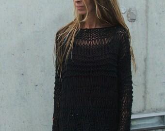 Black sweater, BLACK cotton sweater grunge boho sweater, women's sweater, pullover. women's clothing