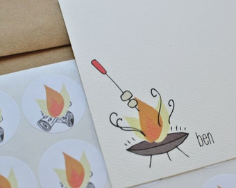 Campfire and S'mores Personalized Stationery Gift Set with Stickers