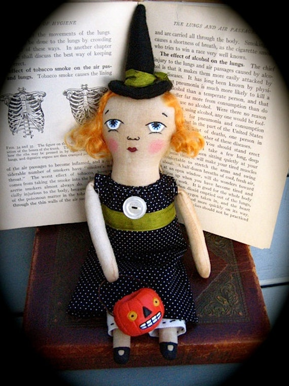 Primitive Witch doll with Pumpkin - RESERVED