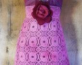 Pink lace dress lavender dusty mauve halter  bohemian rose medium  by vintage opulence on Etsy