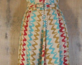 Vintage stripe dress red blue cream chevrons cotton boho   small  from vintage opulence on Etsy