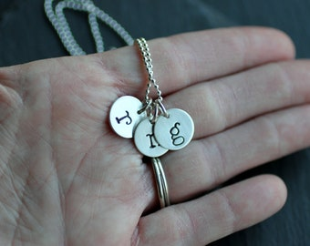 Hanstamped Letter Necklace, Personalized Initial Necklace- THREE CHARMS