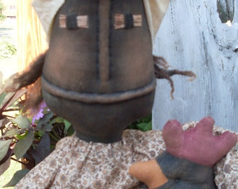 Primitive Black Folk Art INSTANT DOWNLOAD Had a Lil Chicken e-PATTERN #146 Hafair
