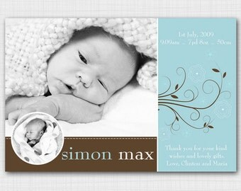 Modern photo birth announcement for baby boy AB102
