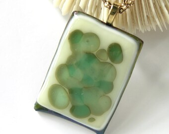 Misty Mountain . Fused Glass Pendant - Frog Jelly - Reactive Glass - Art Glass Jewelry - Modern Glass -