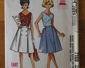 Vintage 60s double breasted blouse and skirt sewing pattern. McCall's 7169. Size 14. 0234