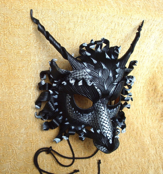 Great Pewter Dragon Mask... original hand made leather dragon mask
