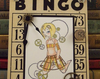 Steampunk Girl Mixed Media Collage Art on Vintage Bingo Card - Steampunk Collage