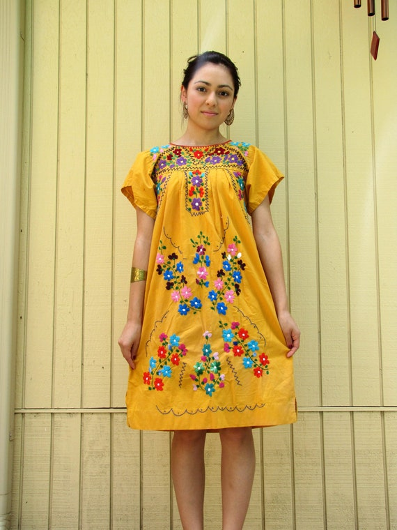70s yellow Mexican embroidered TENT dress