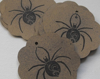 Spooky Spider Tags Stamped by The Paper Peddler Halloween gift wrap adornments 13 pieces