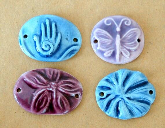 4 Handmade Ceramic Beads - Porcelain Bracelet Beads - Flower, Butterfly and Hamsa Beads