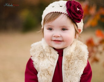 """Beanie Hat Crocheted  """"The Macy Jean """" Baby Ivory, Burgundy, Modern Trendy Flowers Choose your size"""