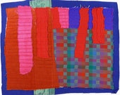 8.27.2012 small art quilt, contemporary, abstract, rust, royal blue, bright pink, indigo, purple, red, aqua, gray