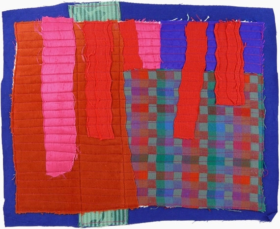 8.27.2012 small art quilt, contemporary, abstract, rust, royal blue, bright pink, indigo, purple, red, aqua, gray