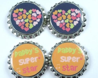 Set 4 M2MG Daddys Super Star Sealed Bottle Caps Heart