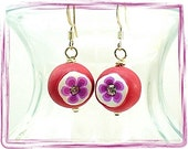 Red and Purple Earrings Red Hat Society Earrings Red Hat Society Jewelry Red Hatter Gift E2007-17