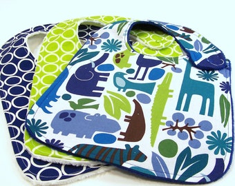 Baby Boy Bibs - BLUE ZOOLOGY SET Minky bibs