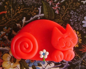 Polymer Clay Red Cat with Flower pin or magnet