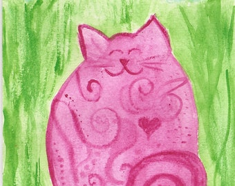 Watercolor - Pink lady cat with heart