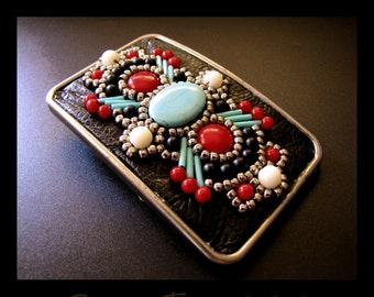 South Western Belt Buckle Bead Embroidered in Silver, Black, Turquoise, Coral and Ivory
