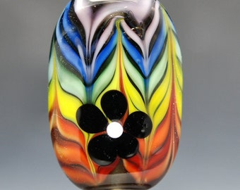Groovy - Rainbow Striped Lampwork Glass Bead