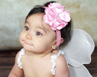 Oh So Posh - Handmade Satin Flower Headband, Baby Girls Headband, Newborn Photography Props, Pink Headband, Toddler Headband