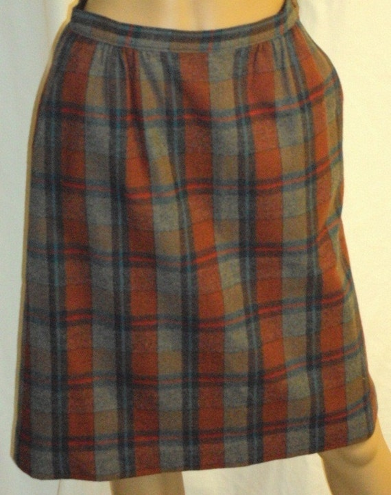Pendleton Vintage Turquoise Brick Red Plaid 100% Virgin Wool Size Medium Pencil Skirt