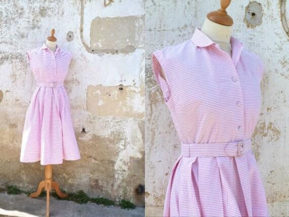 Vintage 1950 pink & white stripes lolita dress mid century sage belted size S