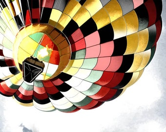 Wellsville, NY, Hot Air Balloon Digital Art Print, 30x40 sofa size Giclee Print, Office Wall Art EBSQ
