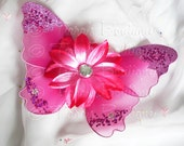 Fuchsia Baby Butterfly Wings - Hot Pink Infant Fairy Wings for Halloween - newborn to 12 months - Photo Prop - Prop for Newborn Photography