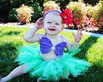 "Girls Mermaid Tutu Set, Little Mermaid Tutu, Toddler Tutu Girls Tutu 8"" Pixie Tutu, Ariel Costume, Sea Shell Seashell Bra Top, Mermaid Tutu"