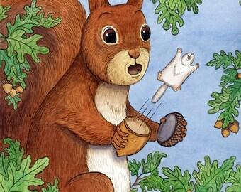 """Surprise Squirrel Art Print 8""""x10"""""""