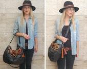 Black leather navajo bag / southwestern / large slouchy bag / boho style