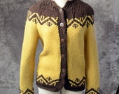 1960s Cardigan Knit sweater yellow Brown Wool