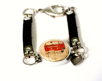 VW Van Jewelry, VW Van Bracelet, Vw Bus Jewelry, Leather Bracelet, ANY Size, Custom Initial, Wine Cork Jewelry, Recycled Steel, Uncorked