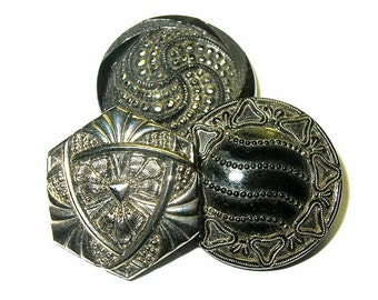 Antique Buttons Black Glass Silver Luster 4 Way Embedded Shank NBS Medium