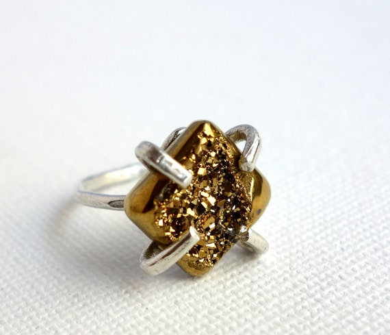 Sterling Silver and Gold Druzy Handmade Prong Ring