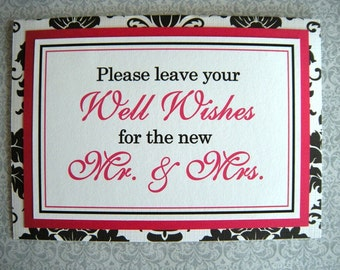 CLEARANCE 5x7 Tent Folded Please Leave Your Well Wishes for Mr. & Mrs. Wedding Sign in Black and White Damask and Hot Pink - Ready to Ship